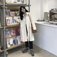 春季工装服大衣韩国学院风中长款长袖外套女宽松过膝风衣大衣开衫