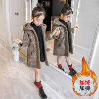 女童外套冬新款韩版毛呢洋气女孩中大童呢子大衣加厚长款棉衣 加棉加厚