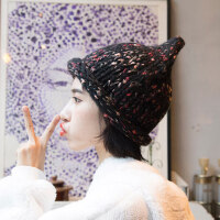 韩国手工加厚尖尖混色毛线帽保暖秋冬季帽子潮男女卷边护耳针织帽