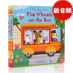 巴士上的轮子英文原版The Wheels on the Bus绘本 Sing Along with Me 童谣纸板机关