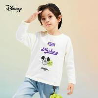 【3件4折券后预估价:41.2】迪士尼男童针织时尚长袖T恤洋气2021春装新款潮酷纯棉儿童上衣