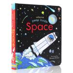 英文原版绘本 Usborne Peep Inside Space 偷偷看里面系列 太空 洞洞书 纸板科普翻翻书