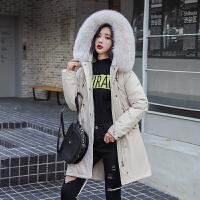 中长款派克服女士冬装2020新款初中学生韩版宽松加厚羽绒棉服外套