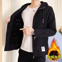 男士秋装加绒休闲夹克青少年秋季韩版外套加厚上衣服冬装男装潮流