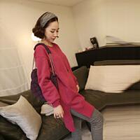 韩版大码女装 韩版孕妇装秋装孕妇上衣T恤时尚休闲不规则大码宽松长袖孕妇卫衣