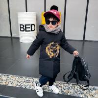 男童唐装外套棉衣冬装中长款中小童男宝宝新年装拜年服儿童中国风 黑色 90码身高85左右