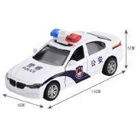 合金车汽车模型 星珀 仿真合金车1:32双开门 裸车14cm模型仿真警车声音灯光回力式汽车儿童玩具中国警车