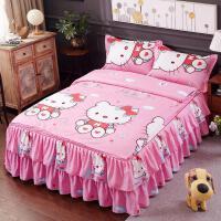 床罩床裙四件套全棉纯棉加厚磨毛婚庆被套欧美风田园简约韩版花边 乳白色 KT猫