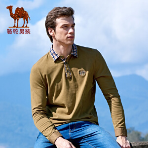 骆驼男装 秋款新款T恤 男士长袖T恤 纯棉休闲T恤