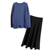 针织毛衣两件套女秋冬新款中长款学生小清新套装长裙子