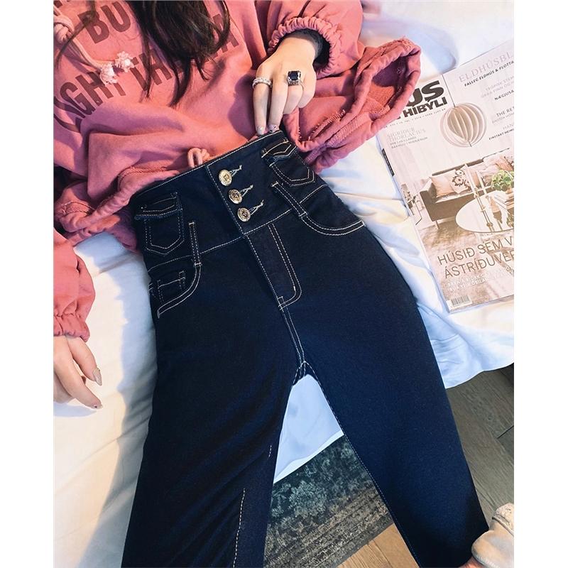 网红高腰加绒牛仔裤女2018新款弹力修身显瘦小脚裤冬