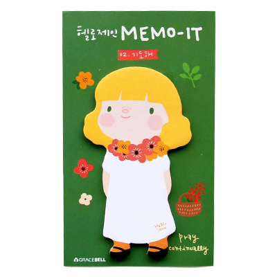 umi 韩国文具 可爱围裙女孩卡通创意便签本 便利贴 n次贴_绿色