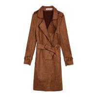 风衣女士中长款韩版春季新款秋冬收腰鹿皮绒外套休闲大衣