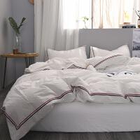 被套四件套全棉水洗棉纯色双人被罩素色床单1.8/2.0m定制 白色 洛可可1烟白 2米床(被套220*240) 床笠款