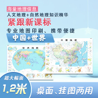 中国地图 世界地图(大一全 1.2m*0.9m 地理知识版 紧跟 人文地理+自然地理知识精华 专业地图印刷、携带方便 海