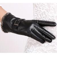 皮手套女式冬季加厚加绒毛口防风防冻保暖户外骑行开车皮手套