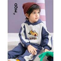 MQD童装男童拼接连帽套装加绒保暖2019秋冬款儿童运动潮酷两件套