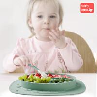 babycare����餐�P吸�P碗分格�P硅�z防摔�o食碗叉勺套�b