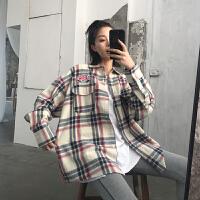 秋装2018新款韩版中长款长袖格子衬衫女冬宽松磨毛秋天上衣外套潮 图片色 均码