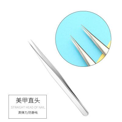 美甲工具镊子直头不锈钢尖头指甲贴粘贴水钻饰品贴纸工具用品 普通直头镊子