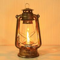 煤油灯老式老油灯用油马灯复古酒吧户外玻璃灯罩餐厅摆件乡村手提 做旧古铜色