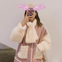 2018新款韩版宽松仿羊羔毛外套女冬加厚加绒棉衣学生灯芯绒服 均码