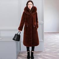 羊剪绒大衣女2018新款皮毛一体中长款女士皮草外套冬季大码潮