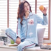秋季睡衣女春秋款长袖薄款韩版女士全棉夏家居服套装
