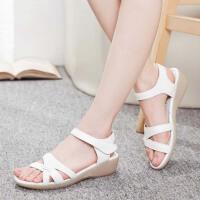 护士鞋女夏季新款医院软底坡跟工作鞋韩版白色凉鞋
