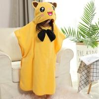 斗篷 带帽纱布吸水毛巾料卡通超柔宝宝浴袍新生婴儿 黄色 猫咪建议90-130高