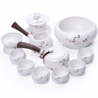 【新品热卖】陶瓷整套功夫茶具日式侧把壶定窑茶器套装亚光白瓷礼盒装