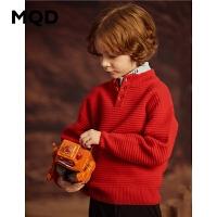 【1件3折:159】MQD童装2019冬新款男童加厚毛衣针织衫中大儿童保暖半开襟
