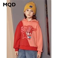 MQD童装女童加绒加厚卫衣2019冬季新款儿童宽松连帽保暖拼接上衣