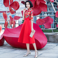 新娘敬酒服2018秋冬季新款长袖中式改良旗袍连衣裙中长款结婚礼服 红色