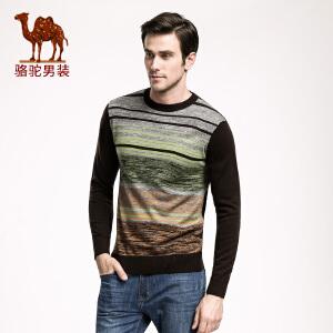 骆驼男装 男士针织衫 圆领条纹毛衣 男款直筒套头毛衣