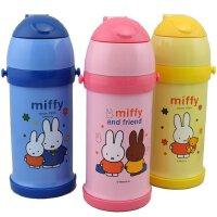 包邮!米菲正品 萌胖型硬吸管600ML保温杯 背带式抽真空不锈钢儿童吸管保温水壶 3408