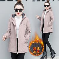 加绒加厚女2018冬季新款韩版风衣中长款带绒保暖棉衣开衫外套 2X