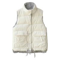 白金天使2018冬季新款棉马甲丝绒立领无袖短裤马夹棉衣外套双面穿 单一码
