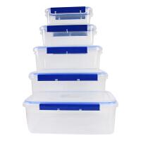 2019新品新品酒店用塑料长方形保鲜盒套装冰箱收纳微波炉饭盒密封盒食品盒