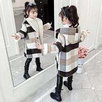 女孩加厚呢子大衣冬装2019秋冬季新款洋气童装女童毛呢外套