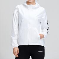 adidas阿迪达斯女服夹克外套2019新款防风连帽休闲运动服DU0669