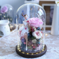 永生花礼盒玻璃罩玫瑰花情人节礼物生日礼品送女朋友