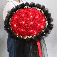 99朵红玫瑰蓝色妖姬手捧花束仿真花永生香皂花礼盒女生万圣节礼物
