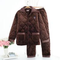 男士秋冬季夹棉加厚三层水晶绒睡衣法兰绒睡衣保暖家居服套装加棉