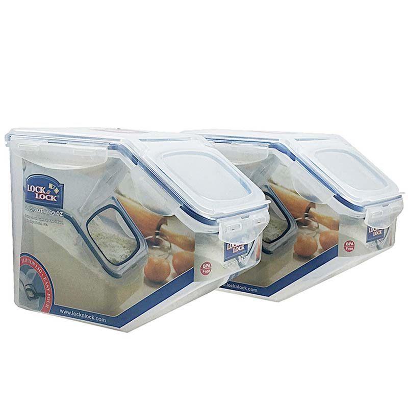 乐扣乐扣 塑料保鲜食品收纳盒套装米桶零食谷物箱 5Lx2 HPL700Q2 半透明