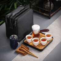 白瓷旅行茶具套装 陶瓷功夫便携包式 盖碗户外车载旅游茶杯茶壶简约