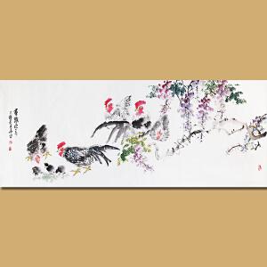 安徽省美术家协会会员、著名花鸟画家张华先生作品――群鸡报春69*180