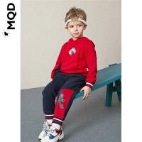 MQD童装男童连帽运动套装2019秋新款儿童中国红小恐龙卫衣两件套
