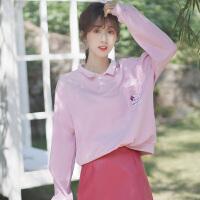 2019新款春秋韩版polo领卫衣女宽松套头bf学生口袋长袖上衣