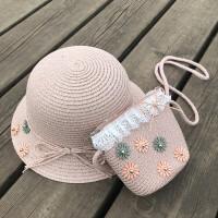 韩国宝宝遮阳渔夫帽子夏海边手工编织儿童草帽+包包女童沙滩防晒 均码 50-53CM约2岁半-7岁